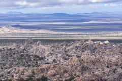Horizontal shadows across Mojave Desert landscape royalty free stock photography