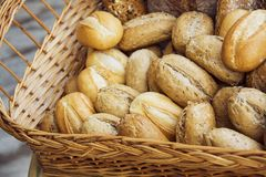 Horizontal shoot of Baguette bread in a basket. Closeup of some long French baguette bread Royalty Free Stock Photos