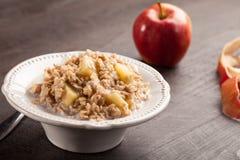 Horizontal shot of apple oatmeal Stock Images