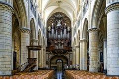 Horizontal shot of a Christian cathedral interior in Tongeren, Belgium