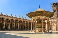 Horizontal shot of the courtyard of the Mosque of Muhammad Ali in the Citadel of Saladin.. Horizontal shot of the courtyard of the Mosque of Muhammad Ali in the stock image