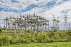 Electric Power Grid Station. Horizontal shot of an Electric Power Grid Station under cloudy skies royalty free stock photo