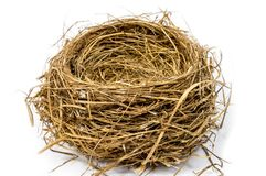 Empty Nest Close Up On a White Background. Horizontal shot of an empty bird`s nest close-up on a white background Royalty Free Stock Photography