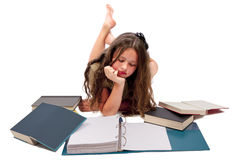 Teenage Girl Reading Book Isolated On White Stock Image