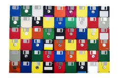 Old Floppy Disks With Blank Yellow Disk Front Stock Image