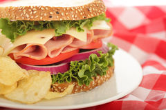 Horizontal shot of a ham and cheese sandwich Royalty Free Stock Photography
