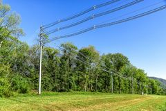 High Voltage Power Lines. Horizontal shot of  high voltage power lines next to some green trees under a blue sky Royalty Free Stock Image