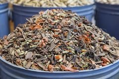 Exotic Moroccan spice blend at a traditional market, also known as souk in Marrakesh, Morocco stock photography