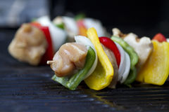 Chicken kabob raw macro Stock Photo