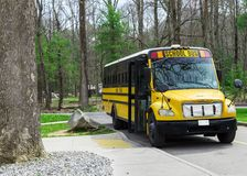 School Bus Waiting For Kids at Smoky Mountains Tennessee Stock Images