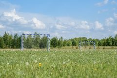 Horizontal shot of soccer field in the rural Stock Image