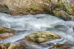 Swirling Rushing Water in Tennessee Mountain Stream stock image