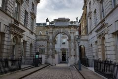 Horizontal Shot of Somerset House Corner. Beautiful landscape view of a deserted section of Somerset House in London England Royalty Free Stock Image