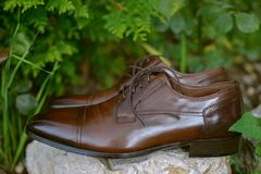 Stylish brown leather shoes for men, timeless polished Derbies with open lacing and round toe stock photo