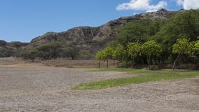 Landscape inside the Diamond Head crater, an extinct volcanic cone near Waikiki, Honolulu, Oahu island, Hawaii, USA. Horizontal shot of the tranquil landscape Stock Photos