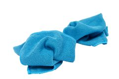 Blue Cleaning Cloths Focus On the Front Cloth Only Stock Photos