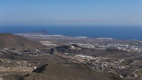Aerial view from Mirador La Centinela, southern coast of Tenerife, Canary Islands, Spain. Horizontal shot of the vantage point of La Centinela ideal to observe Stock Photo