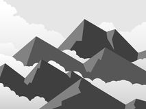 Horizontal simple illustration of mountains in clouds. Royalty Free Stock Image