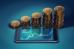 Horizontal smartphone with Bitcoin surge chart and growing piles of golden Bitcoins. Royalty Free Stock Photo