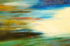 Horizontal smears of watercolor paint on a solid canvas. Blue, yellow. green, pale and bright Stock Photography