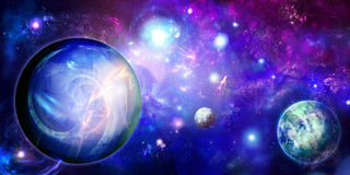 Horizontal space with three planets Stock Images