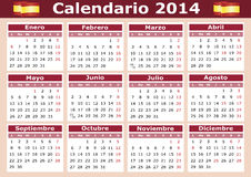 Horizontal Spanish Calendar 2014 Stock Images