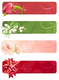 For horizontal spring banners. With tulip,rose and snowdrops Stock Image