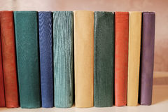 Horizontal Stack Of Old Books On A Shelf Royalty Free Stock Photos