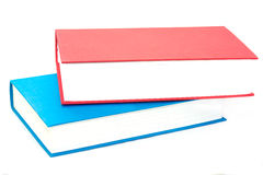 Horizontal stack of two red and blue books Stock Images