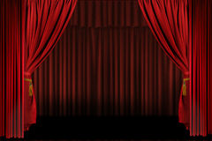 Horizontal Stage Drapes Open For Presentation Royalty Free Stock Images