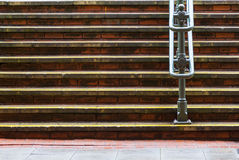 Horizontal steps and metal handrail Stock Photos
