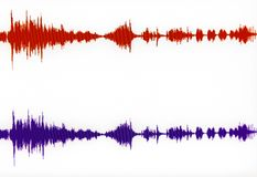 Horizontal Stereo Waveform. Horizontal PC display of stereo signals royalty free illustration
