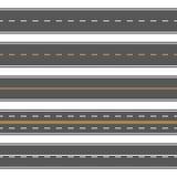 Horizontal straight seamless roads. Modern asphalt repetitive highways Stock Photos