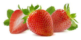 Horizontal strawberry composition isolated on white background Royalty Free Stock Image