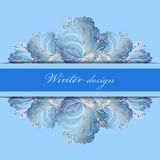 Horizontal stripe border design. Winter frozen glass background. Text place. Stock Photography