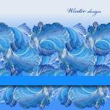Horizontal stripe border design. Winter frozen glass background. Text place. Royalty Free Stock Photo