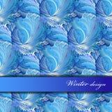 Horizontal stripe border design. Winter frozen glass background. Text place. Stock Image