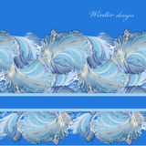 Horizontal stripe border design. Winter frozen glass background. Text place. Royalty Free Stock Images