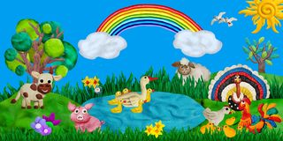 Horizontal summer banner or header for kids sites with 3d rendered farm animals plasticine sculptures. Horizontal summer banner or header for kids sites with 3d Royalty Free Stock Photo