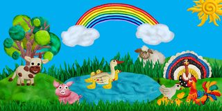 Horizontal summer banner or header for kids sites with 3d rendered farm animals plasticine sculptures. Horizontal summer banner or header for kids sites with 3d Stock Photo