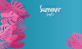 Horizontal summer sale banner with paper cut pink tropical leaves on blue background. Exotic floral design for banner, invitation stock illustration