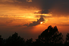 Horizontal sunset. Colorful sunset in horizontal format stock images