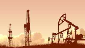 Horizontal sunset sky with units for oil industry. Stock Image