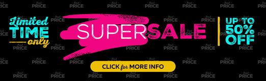 Horizontal Super Sale Banner Design. Seamless Best Price Pattern on Black Background. Dark Template with Bright Elements. Vector Advertising for Website, Shop Stock Photography