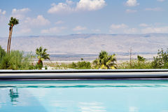 Horizontal Swimming pool with a view of the mountains Royalty Free Stock Image