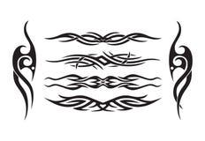 Horizontal symmetrical tattoo. Horizontal symmetrical level tattoo set Stock Image