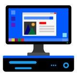 horizontal system unit and monitor. desktop stock illustration