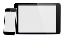 Horizontal Tablet PC and Vertical Mobile Phone Vector illustration. Stock Photos