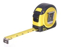 Horizontal Tape Measure. Protracted horizontal tape measure isolated against white stock photo