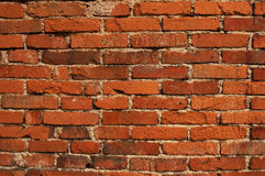 Horizontal tatty old brick wall Royalty Free Stock Photos